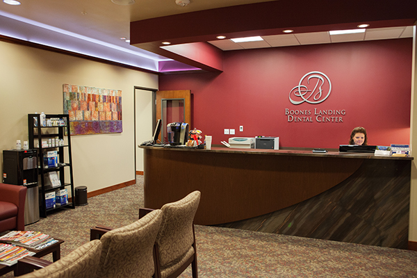 Boones Landing Dental Center's front desk and waiting room.